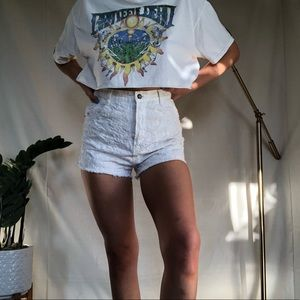 Free People Floral White Shorts